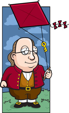 A cartoon Ben Franklin with a key on a kite string.