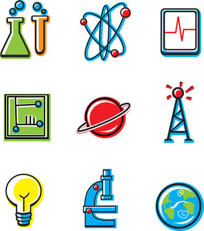 A variety of cartoon icons with a science theme.