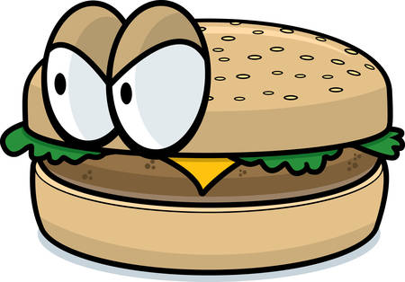 A cartoon cheeseburger with an angry expression.