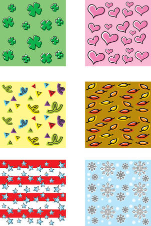 fourth birthday: A variety of cartoon seamless repeating patterns with holiday themes.