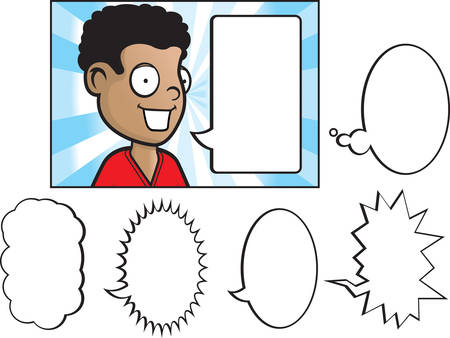 A happy cartoon child talking with a variety of word bubbles. Ilustrace