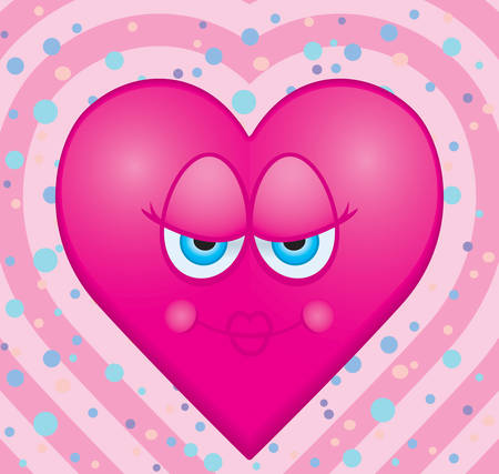 kiss love: A cartoon pink heart happy and smiling.