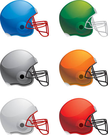 football helmets: A variety of different colored football helmets.