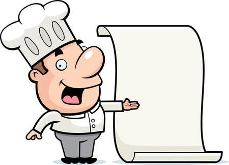 A happy cartoon chef with a menu.