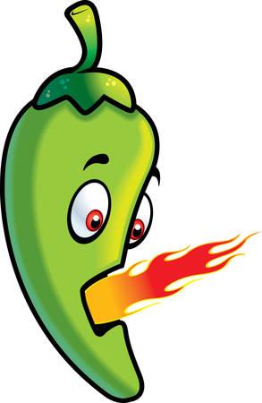 jalapeno: A cartoon green jalapeno breathing fire.