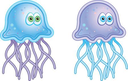 A cartoon blue and purple jellyfish.