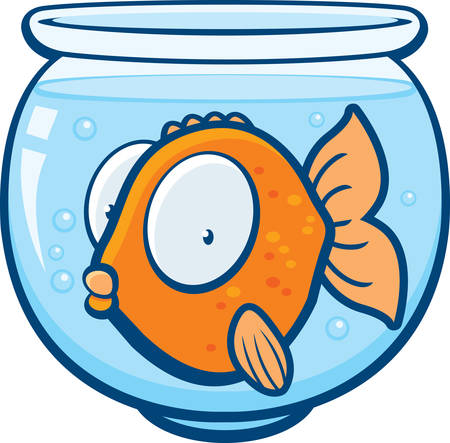 A cartoon goldfish in a glass bowl. Illustration