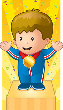 A happy cartoon child on a podium with a gold medal.