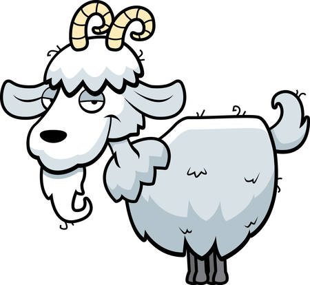 mountain cartoon: A happy cartoon mountain goat standing and smiling.