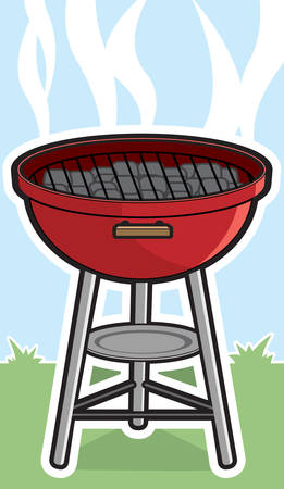 A cartoon grill with charcoal bricks in it. Illustration