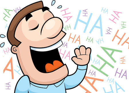 ha: A happy cartoon man laughing and smiling. Illustration