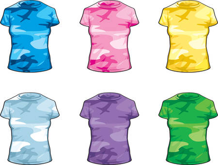 variety: A variety of cartoon colored camouflage shirts. Illustration