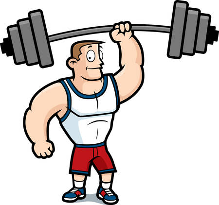 A cartoon strong man lifting a heavy weight. Ilustração