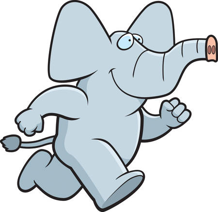 A happy cartoon elephant running and smiling.