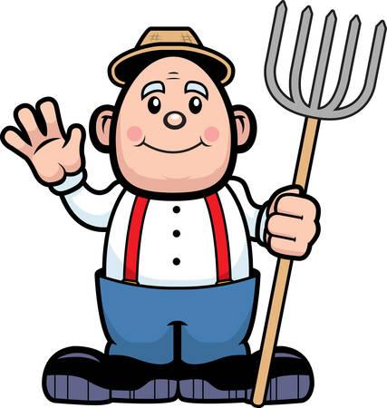 A happy cartoon farmer waving and smiling. Illustration