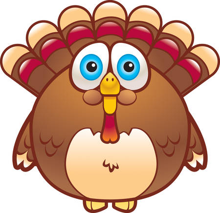 gobbler: A cartoon fat turkey that is brown in color. Illustration