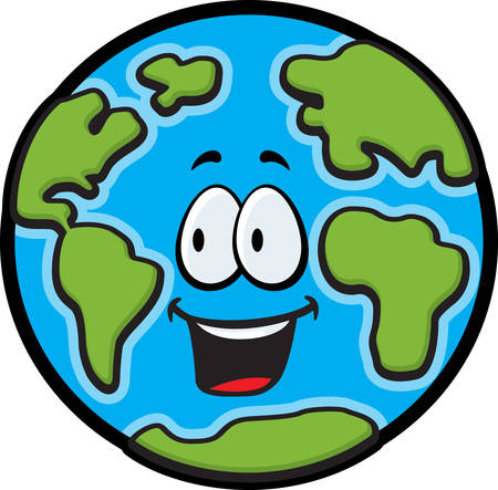cartoon earth: A cartoon planet Earth smiling and happy. Illustration