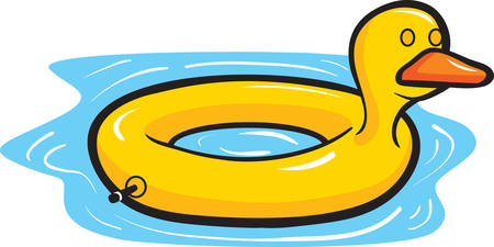 A cartoon yellow duck pool float in water.