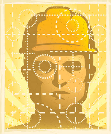 An illustration of a construction worker with a hardhat on.