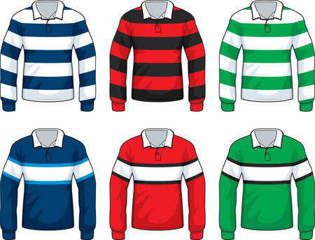 jersey: A variety of different colored rugby style shirts.