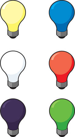 variety: A variety of different colored light bulbs.