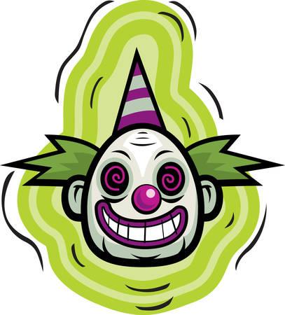 A cartoon evil looking clown smiling.