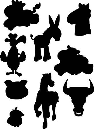 silhouettes: A variety of cartoon farm animal silhouettes.