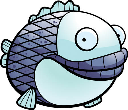 A happy cartoon fat fish floating and smiling.