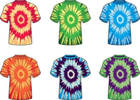 様々 な異なる色の絞り染め t シャツ。