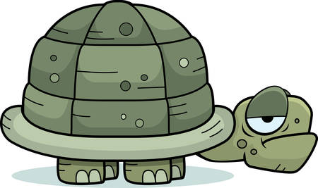 A cartoon turtle with an unhappy expression. Ilustrace
