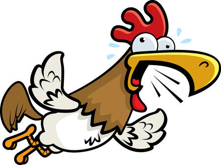 loudly: A cartoon rooster flying and crowing loudly.