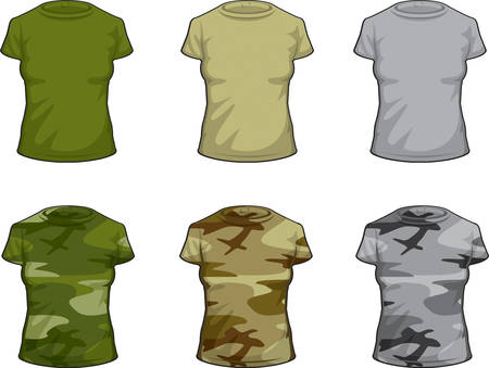 variety: A variety of different colored camouflage shirts. Illustration
