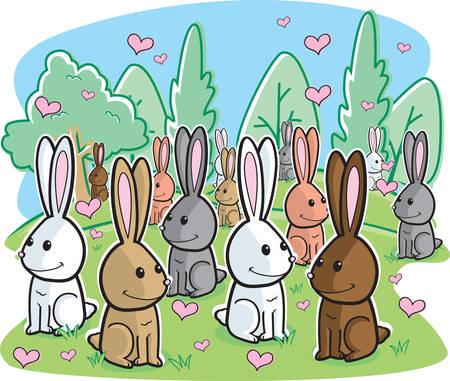芝生のフィールドで恋ウサギの束。  イラスト・ベクター素材
