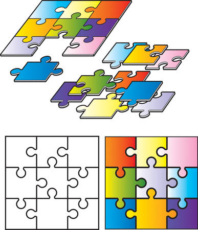 A variety of puzzle pieces and puzzles put together.