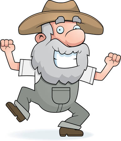 joyful: A happy cartoon prospector celebrating and smiling. Illustration