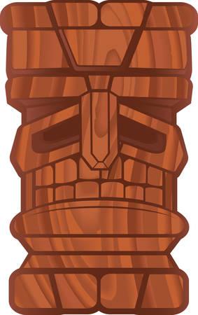 Een cartoon tiki met een houten structuur.