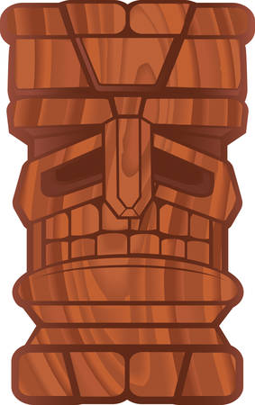 A cartoon tiki with a wooden texture.