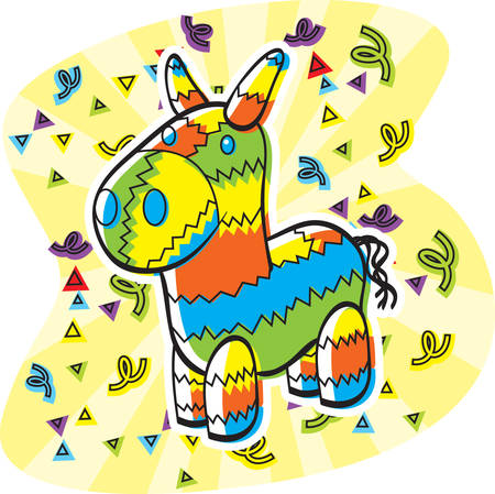 pinata: A cartoon donkey shaped pinata with confetti.