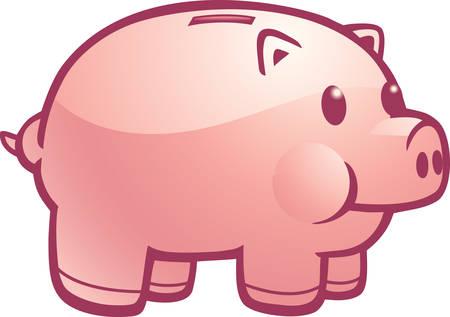Een cartoon illustratie van een roze spaarvarken. Stock Illustratie