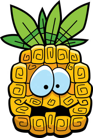 A cartoon yellow pineapple with eyes and mouth.
