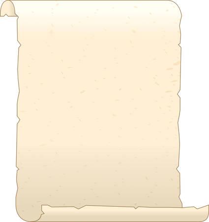古い羊皮紙のイラストは、両端のカール。