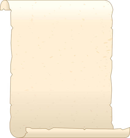 A illustration of an old parchment curled on the ends.