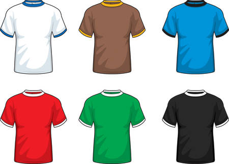 sleeve: A variety of different colored short sleeve shirts. Illustration