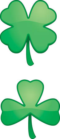 Two green cartoon shamrocks or clovers. Ilustrace