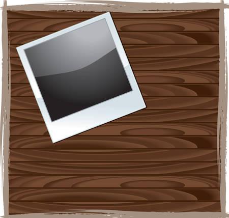 木製テーブルの上の写真のイラスト。  イラスト・ベクター素材