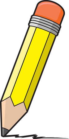 黄色の鉛筆の漫画イラスト。