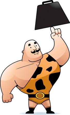 heavy weight: A big cartoon strongman lifting a heavy weight. Illustration