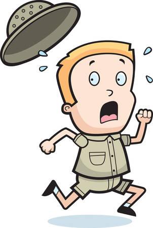 Een cartoon kind explorer lopen in angst. Stock Illustratie