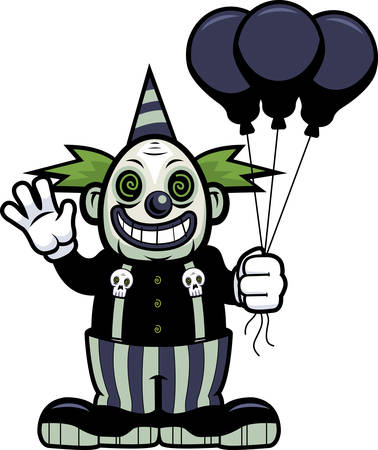 A cartoon evil clown waving with balloons.