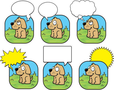 A happy cartoon dog talking and smiling.